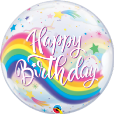 Happy Birthday Rainbows & Unicorns Bubble Balloon